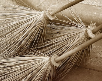 Cottage decor, straw brooms, Thailand, wall art, fairytale, wicked witch, urban, street photography, sepia, black and white