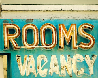 Vintage photography, housewarming gift, vintage neon sign, vintage sign photo, sign photograph, wall art, summer photography, old motel sign