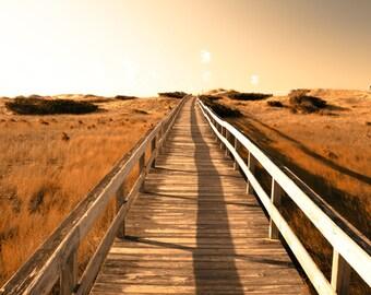 Beach photography sunset dusk pumpkin orange rustic decor twilight boardwalk sand dunes grassland Ocracoke Island