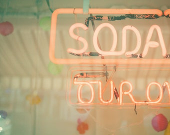 Pink neon sign PHOTO, vintage, soda fountain, summer, coral, honeysuckle, dreamy, pretty in pink, girly, nursery decor, shabby chic