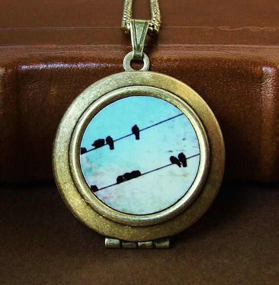 SALE - Photo locket photo pendant art locket Photo locket Tweet black birds bird on a wire wearable art Photo Art Locket Necklace