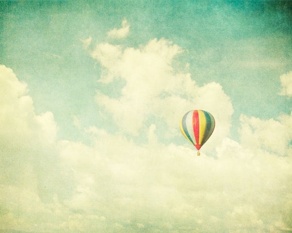 Children's decor, art for a nursery, balloons, nursery decor, teal, aqua, fairytale, carnival photography, circus, kid's room art