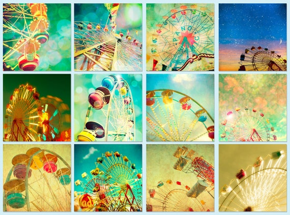 Circus photos, carnival photography, new baby, fall fair, child's room summer, nursery, baby, green, blue  - Wheels 12 5x5 prints