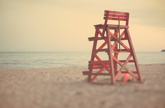 Beach photography, 8x12 photo, neutral tones, toffee,beige sand, pale tones, nature photo, home decor, dusk, red lifeguard chair, honey gold