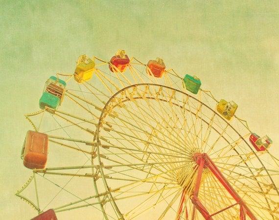 Ferris wheel print nursery art whimsical art pastel colors yellow summer carnival 5x7 fine art photo