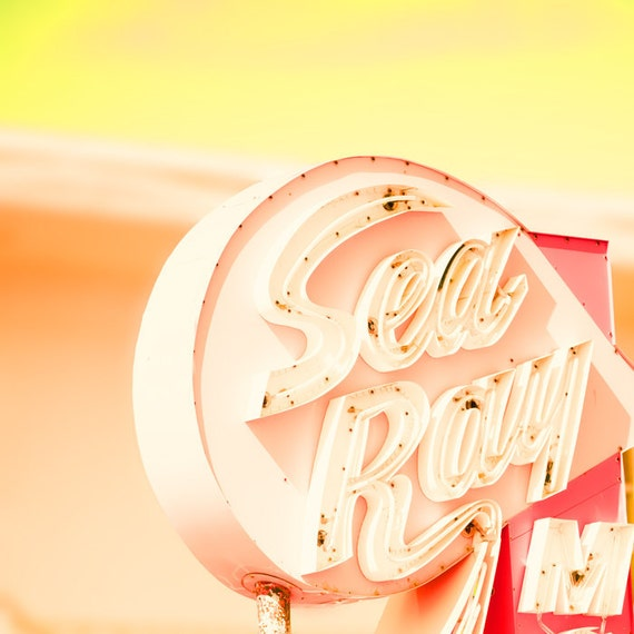 Motel sign, coral, yellow, retro home decor guest room mad men mid century modern jersey shore dusty rose vintage neon