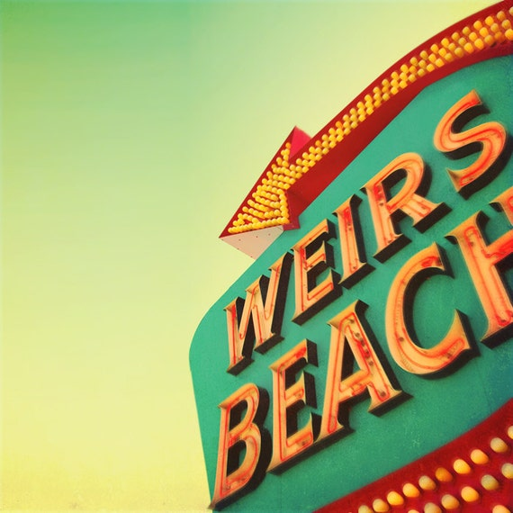 Vintage sign neon bulbs beach resort mid century roadtrip red arrow 1950s car trip northeast green aqua orange - Weir's Beach 8x8