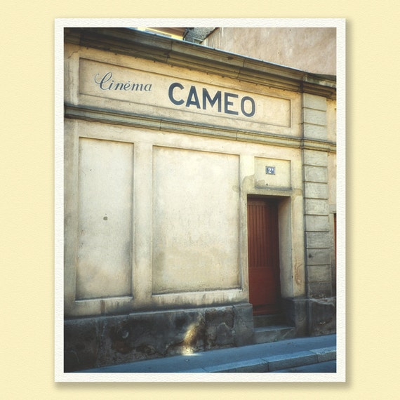 Paris photography, print, Paris decor, travel photograph, Paris France, movie theatre, cream, early morning, streets of paris, cinema