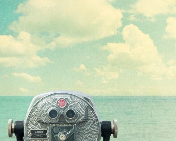 Ocean photography, viewfinder, seaside, beach art, pier, clouds, pastel, turquoise, teal, summer, carolina