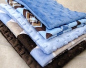 SALE....Minky precut fabric pieces (5).  Great for burp cloths.  Includes blue/brown mix.