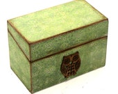Recipe Box Wood Green With Brown Wooden Owl READY TO SHIP Fits 4x6 Recipe Cards