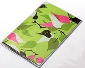 Sale 15% Off Vinyl Passport Cover Case Amy Butler Pink and Green Leaves