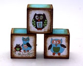 RESERVED Set of 10 Wood Blocks Owl Cute Shabby Chic For Nursery Or Children's Room
