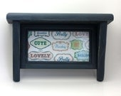 Shabby Chic Blue Wall Shelf With Frame Upcycled