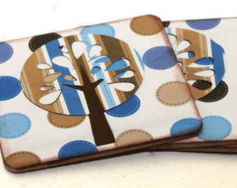 Wood Coaster Blue and Brown Trees