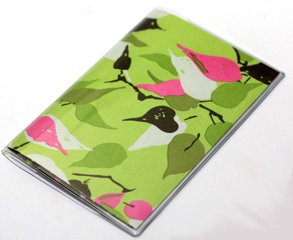 Vinyl Passport Cover Case Amy Butler Pink and Green Leaves
