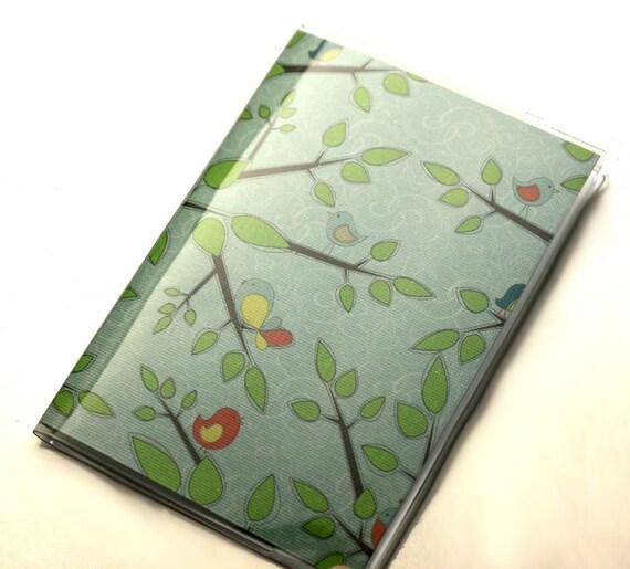 Vinyl Passport Cover Case Birds in Trees