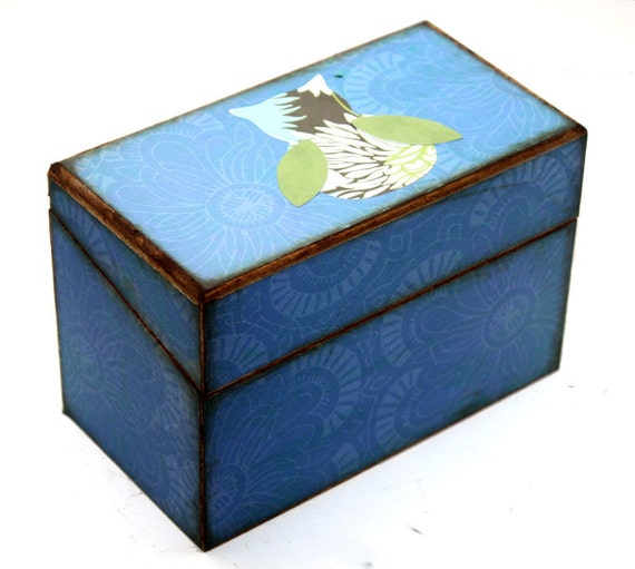 Recipe Box Wood Blue With Amy Butler Owl Fits 4x6 Cards READY TO SHIP
