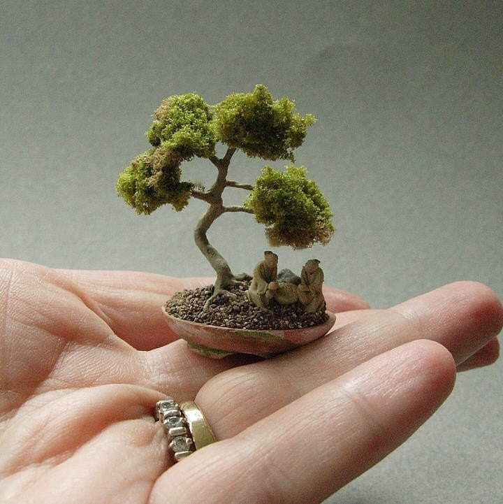 dollhouse miniature bonsai tree. Black Bedroom Furniture Sets. Home Design Ideas