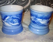 Vintage Blue Mugs by CURRIER\/IVES features winter scenes