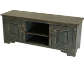 Girtz 60 inch  TV Stand - Blue Grey on Tan Distressed Painted Finish - Handmade to Order