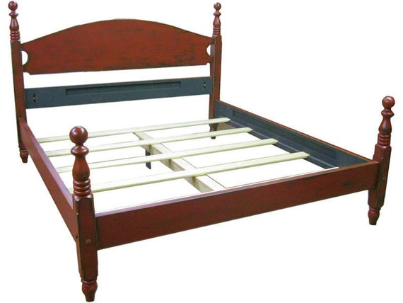Queen Tall Federal Painted Cannonball Bed   Farmhouse Red Bed