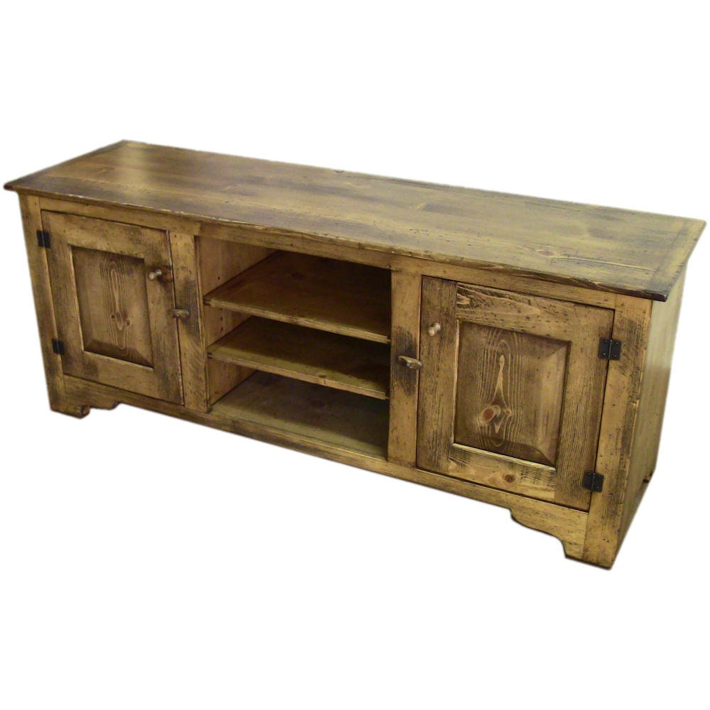 Distressed pine 60 inch girtz tv stand rustic by shakastudios Rustic tv stands