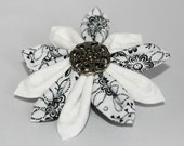 Fabric Flower Clip -  Black and White