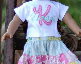 American Girl Doll Embroidered Initial Tee and Scrappy Skirt