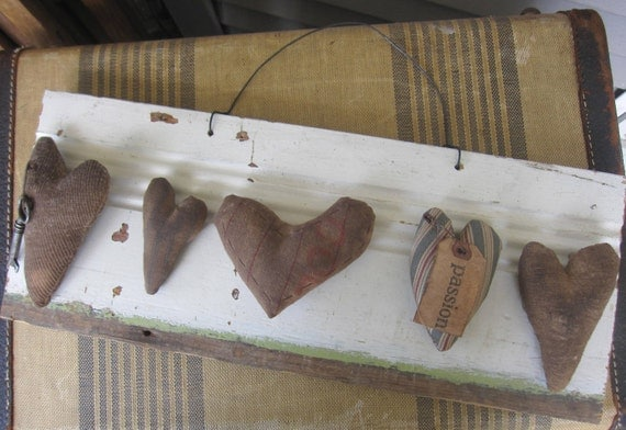 Primitive Sign, Rustic, Hearts, Handmade, Wall Decor, Prim, White, Brown, cssteam, ofg team