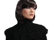 Hand Knit Capelet Black Wool Neckwarmer