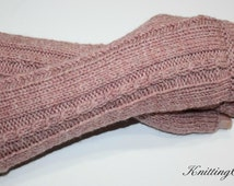 Wrist Warmers, Fingerless Gloves, Womens gift, Mittens, Knitting, Fingerless Gloves, Wood-rose heather color one size fits all