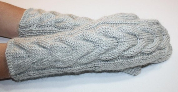 Cabled Fog Mittens Petite - Small size - READY TO SHIP