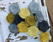 Wool Felt Flowers Set of 12 Large Posies in Yellow & Gray