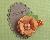 Wool Felt Flower Hair Clip - Fun Summer Clippie - Orange Felt flower