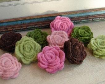 Wool Felt Flowers -  Mini Summer Hydrangea Posies - The Original Wool Felt Posies