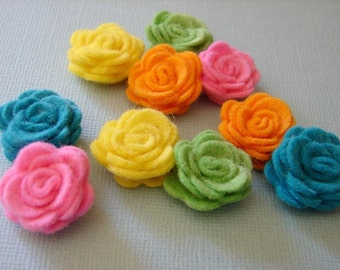 Wool Felt Flowers - Tiny Tropical Collection Posies - Dimensional  Wool Felt Flowers