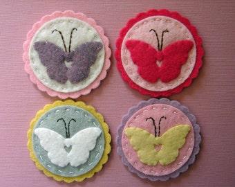 Wool Felt Butterfly Coins - set of 8