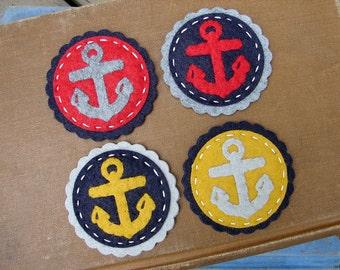 Wool Felt Nautical Anchor Coins - set of 8