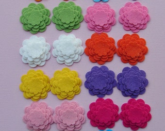 Wool Felt Flower Die Cut Scallop Circle Tropical Flowers - Set of 24 Flowers