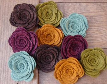 Wool Felt Flowers - Large Posies - Soft Autumn Hues Collection - The Original Wool Felt Posies