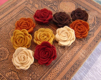 Wool Felt Flowers -  Mini Autumn Posies - The Original Wool Felt Posies