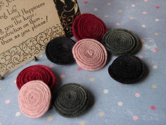 Wool Felt Flowers -  Victorian Valentine Rolled Button Flowers