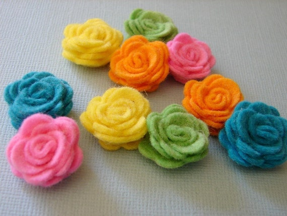 Wool Felt Flowers - Tiny Tropical Collection Posies - Dimensional  Wool Felt Flowers