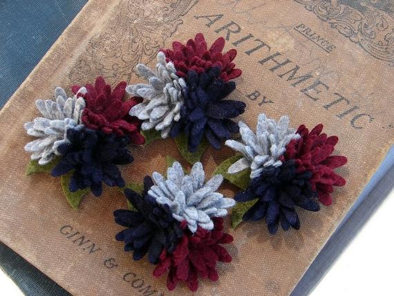 Wool Felt Flowers - Mini Daisies Back To School Uniform Trio, Wool Felt Daisy, Felt flowers - Set of 4