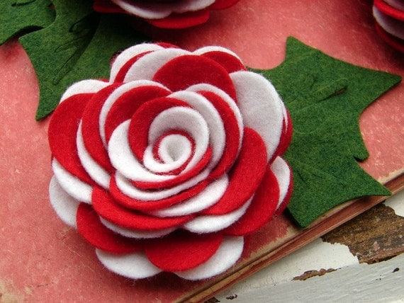 Wool Felt Flowers - Peppermint Twist Collection  - Wool Felt X Large Posies
