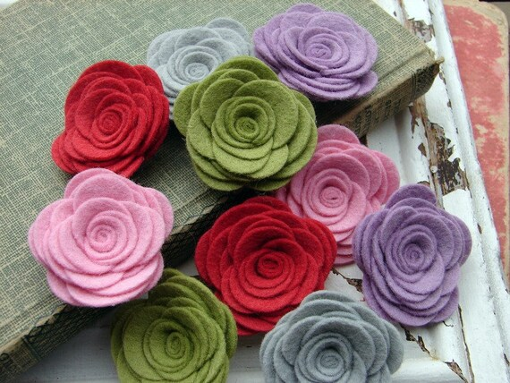 Wool Felt Flowers - Large Posies - Cupcake Icing Collection - The Original Wool Felt Posies