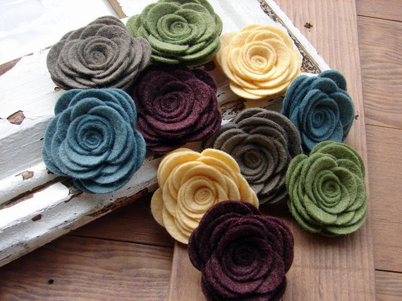 Wool Felt Flowers Large Posies in the Vintage Collection The Original Wool Felt Posies