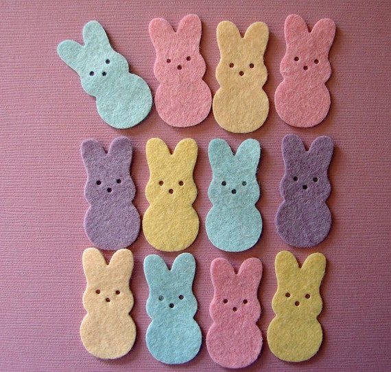 Wool Felt Bunny Treats Die Cuts - 24 Bunnies
