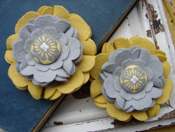 Wool Felt Flowers - Large Blooms - Yellow and Gray with Covered Button